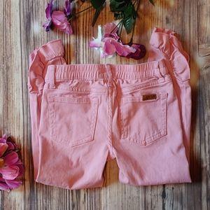 Girls Joe's Jeans pink ruffle hem 6X snap button